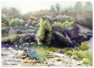 Te puia NZ watercolor テプイア 水彩画