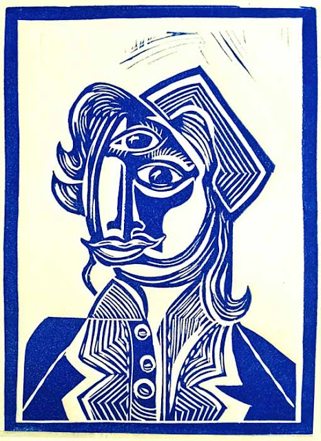 "Don DeLeva Neo Cubist block print Jackie Kennedy blue: linocut print on lana cotton rag paper, 5""x7"" 4/2019"