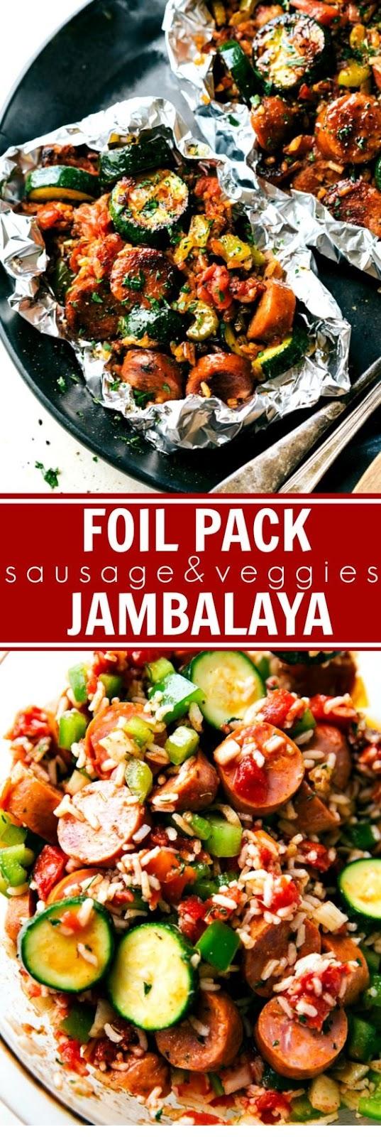 Tin Foil Sausage And Veggies Jambalaya