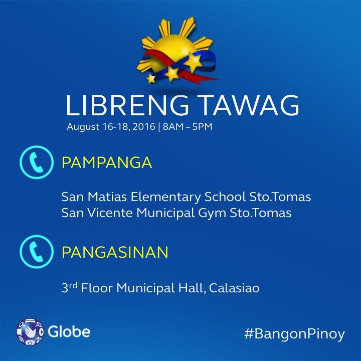 Globe Libreng Tawag to Pampanga and Pangasinan