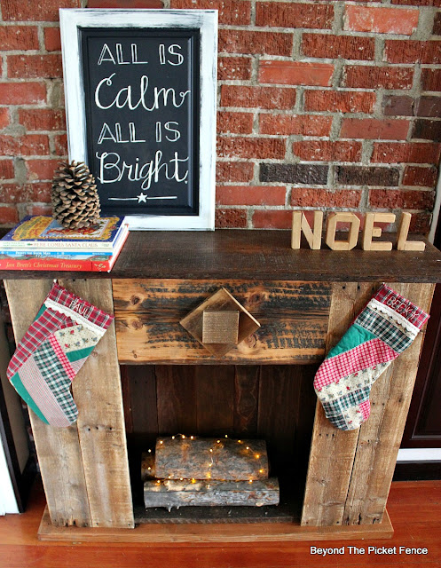 faux fireplace, reclaimed wood, Christmas mantel, stockings, rustic, https://goo.gl/dPDK5r