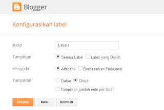 Menentukan pengaturan Widget Label