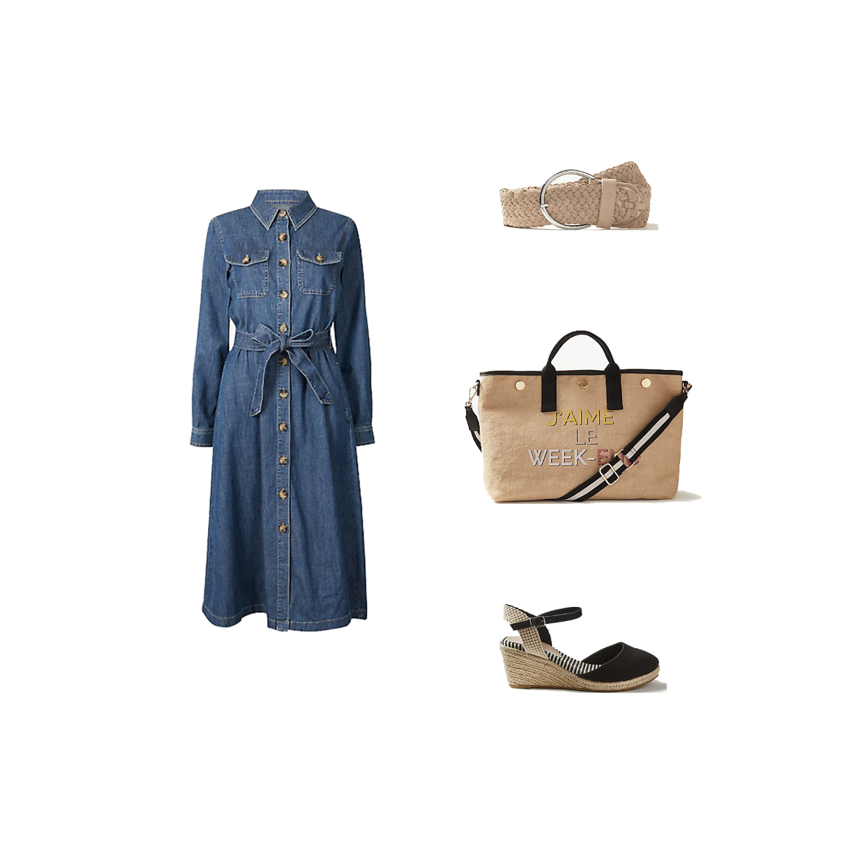 my midlife fashion, marks and spencer denim midi skirt dress, marks and spencer leather waist belt, marks and spencer wide fit wedge espadrilles, marks and spencer holiday slogan tote