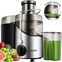 Aicook Fruit Juice Extractor - Stainless Steel 3-Speed Kitchen Vegetable Juicing Machine - Dishwasher Safe, BPA-Free, Non-Slip Feet, Centrifugal Juicer