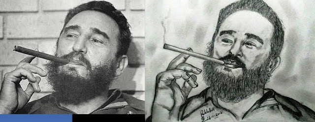 PENCIL DRAWING - FIDEL CASTRO
