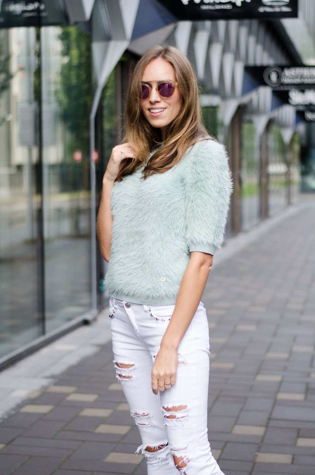 fluffy mint sweater ripped skinny jeans outfit