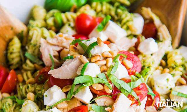 Close up of Pesto Pasta Salad