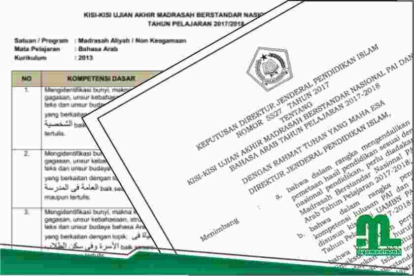 Kisi Kisi Uambn Pai Dan B Arab Untuk Ma 2017 2018 Info