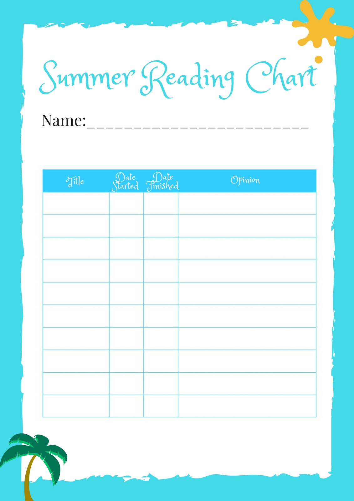 Summer Reading Charts For Kids