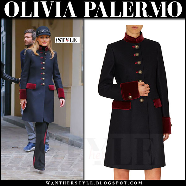 Olivia Palermo in navy military style velvet detail Fay coat, black embellished hat and black side stripe trousers what she wore paris fashion week haute couture