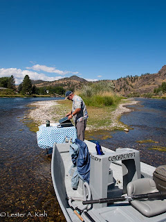Mike Geary, Lewis and Clark Expeditions, prepares lunch on the Missouri River