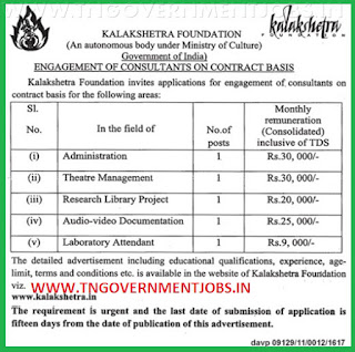 Applications are invited for various vacancy positions in Kalakshetra Chennai under contract basis appointment