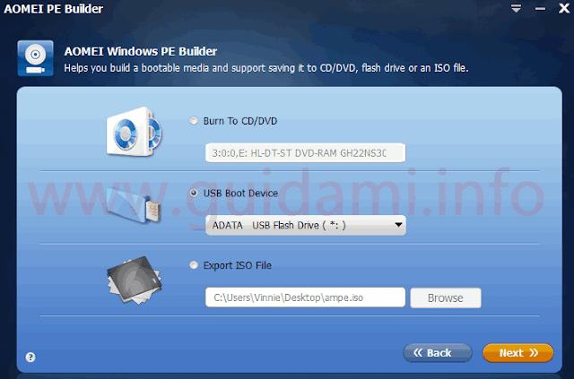 AOMEI PE Builder schermata dove indicare come creare unità di supporto da ISO