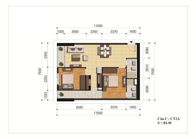 Mặt bằng căn hộ C - CT2A chung cư Gelexia Riverside