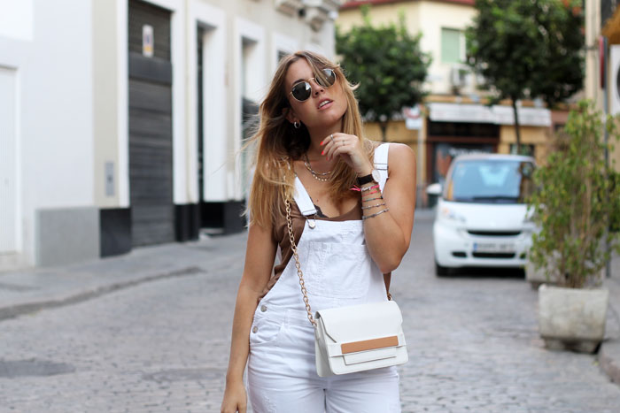 white dungarees