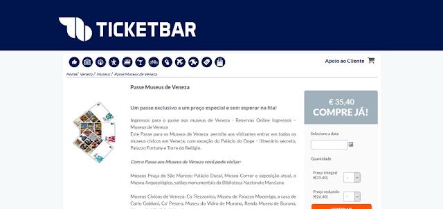 Ticketbar para ingressos para o passe museus de Veneza