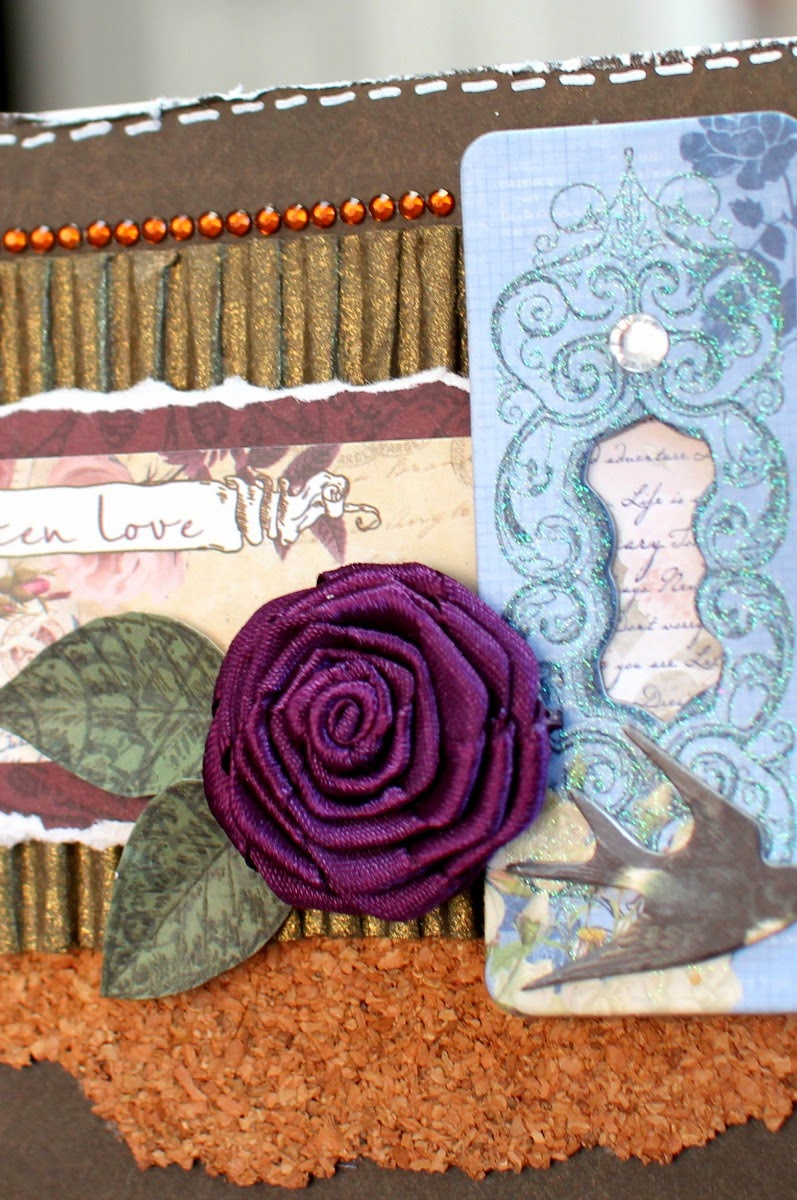 Handwritten Love Card by Ilene Tell using BoBunny Rose Cafe Collection detail