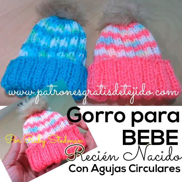 Gorro con Agujas Circulares para recién nacido / Tutorial | Crochet ...