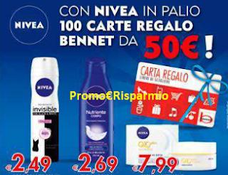 Logo Con Nivea vinci 100 Carte regalo Bennet da 50 euro