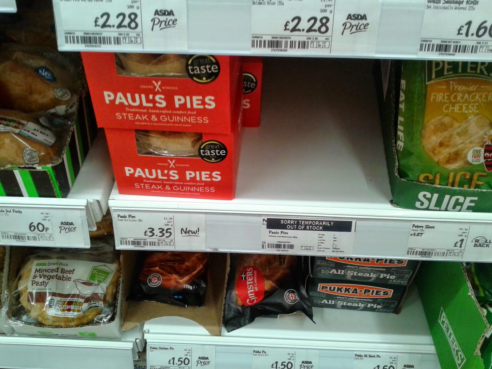 ASDA Pie shelf