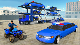 US Police limousine Car Quad Bike Transporter Game mod apk
