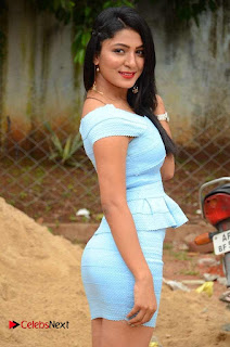 Actress Ankitha Jadhav Pictures in Blue Short Dress at Cottage Craft Mela 0010.JPG