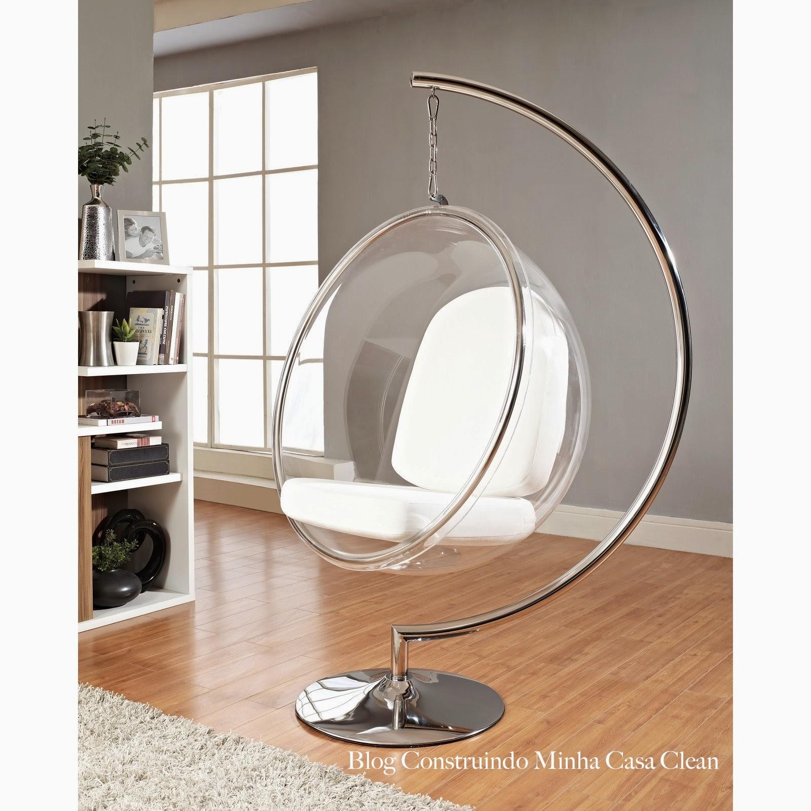 construindo minha casa clean cadeiras bubble chair a beleza dos ambientes com cadeiras flutuantes. Black Bedroom Furniture Sets. Home Design Ideas