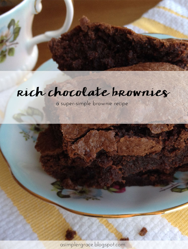A super-simple brownie recipe. Rich Chocolate Brownies - A Simpler Grace #brownies #recipe