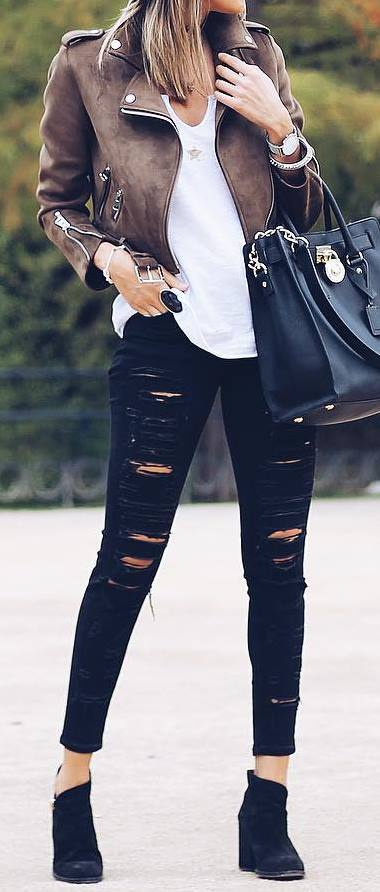 Cute outfit idea with a moto jacket