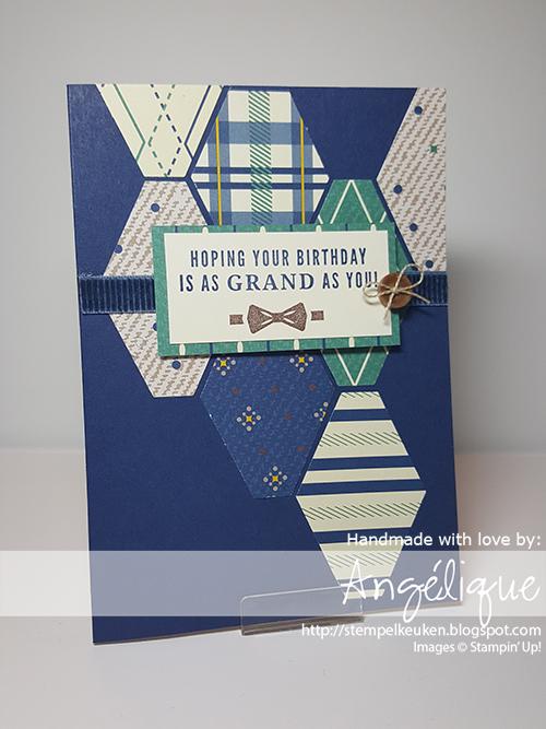 de Stempelkeuken Stampin'Up! producten koopt u bij de Stempelkeuken http://stempelkeuken.blogspot.com #stempelkeuken #stampinup #stampinupnl #stampinupdemonstrator #trulytailored #truegentleman #gentleman #masculinecards #handmade #diy #dsp #punch #blue #chocolatechip #denhaag #thehague #westland #creative #basteln #knutselen #mannenkaarten #linenthread #ribbon #stempelen #stamping #stempeln