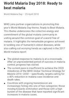 25 April - World Malaria Day  who 2018 theme