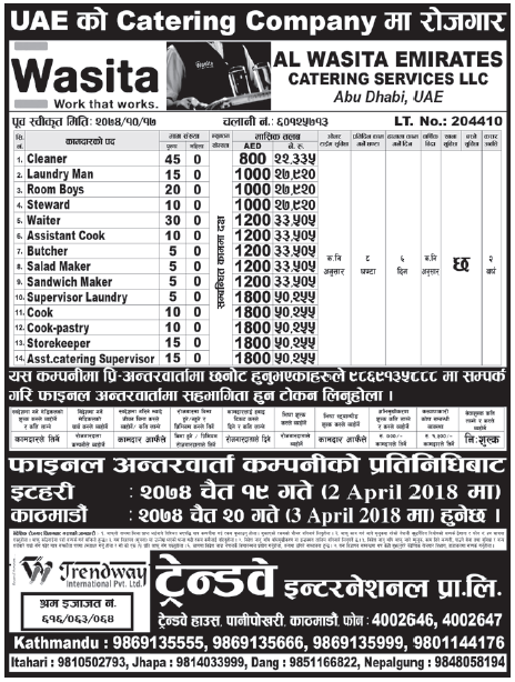 Jobs in UAE for Nepali, Salary Rs 50,255