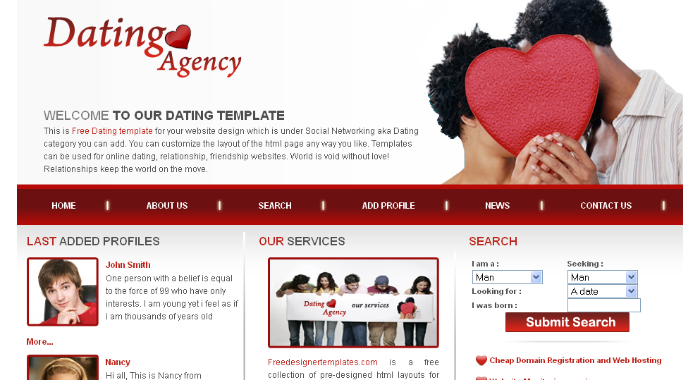 dating website template html