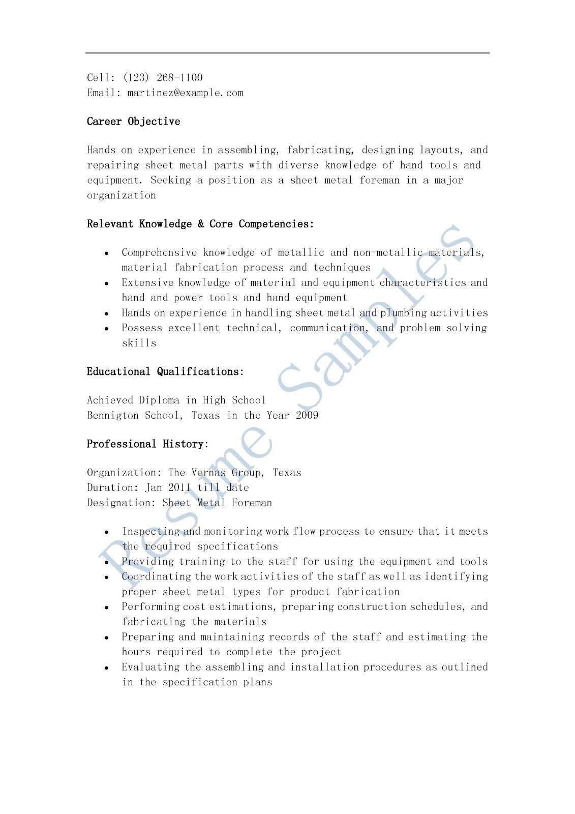 Resume Samples Sheet Metal Foreman Resume