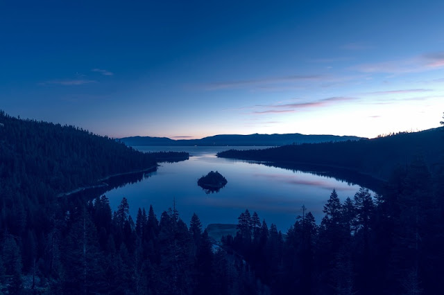 Landscape of lake, Island and Forest at Lake Tahoe