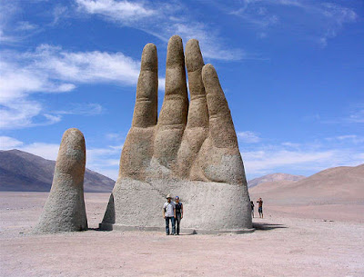 The Hand of the Desert Monument, Atacama Desert, Chile.