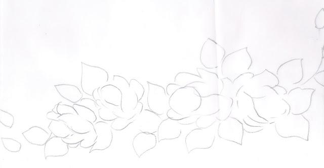 pintura em tecido flores pano de prato risco