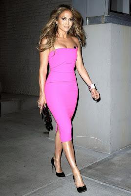 jennifer lopez beautifully caring her hot pink dress
