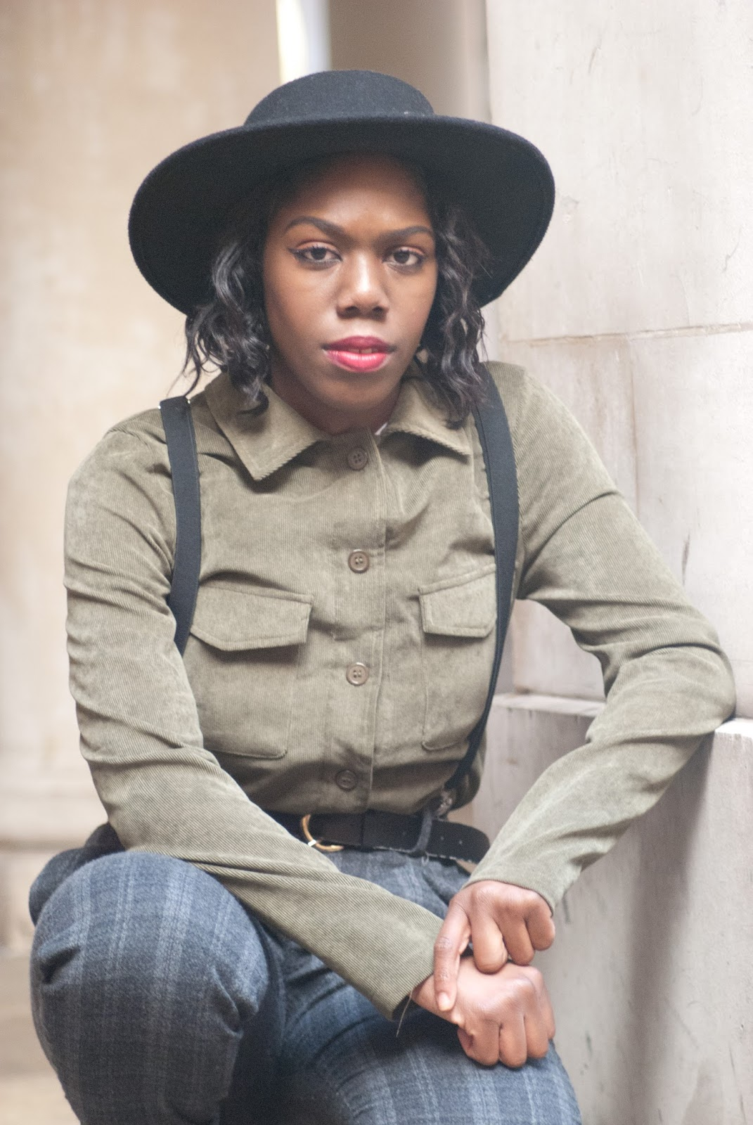 Zara Checked Cropped Trousers, New Look Black Suede Ankle Boots, Boohoo Cord Oversized Shirt, Black Felt Hat H&M, fashion blogger, temple church area, temple, street style, androgynous style, 100 Ways to 30, UK Style Blog