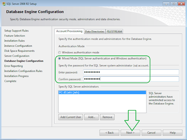 SQL Server 2008 R2 Installation Database Engine Configuration