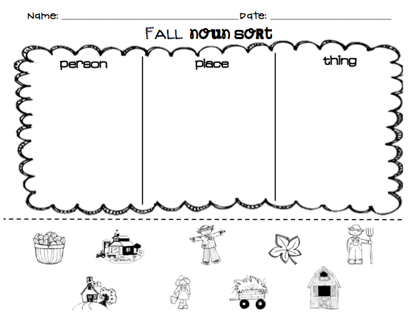 kindergarten superkids fall noun sort free for followers. Black Bedroom Furniture Sets. Home Design Ideas