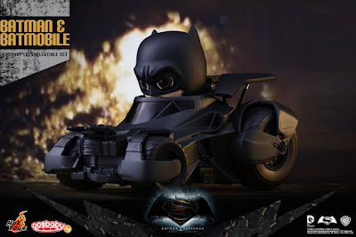 Batman v Superman: Dawn of Justice Batman & Batmobile Cosbaby Vinyl Figure Collectible Set by Hot Toys