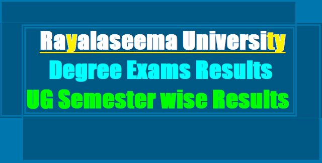 Rayalaseema University Degree Exams Results 2017(Semester wise),