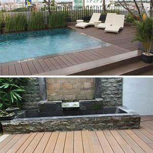 Lantai di pinggir kolam renang atau taman yang dilapisi Milan Ecowood