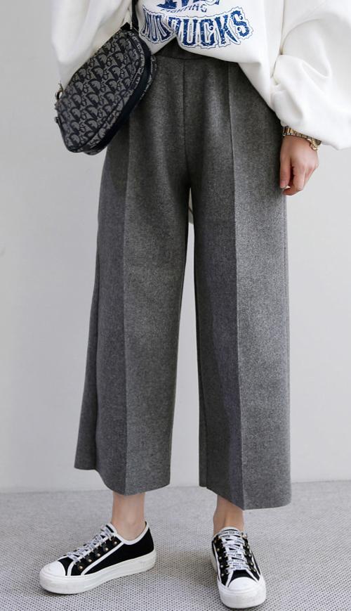 Elastic Waist Wide-Leg Slacks