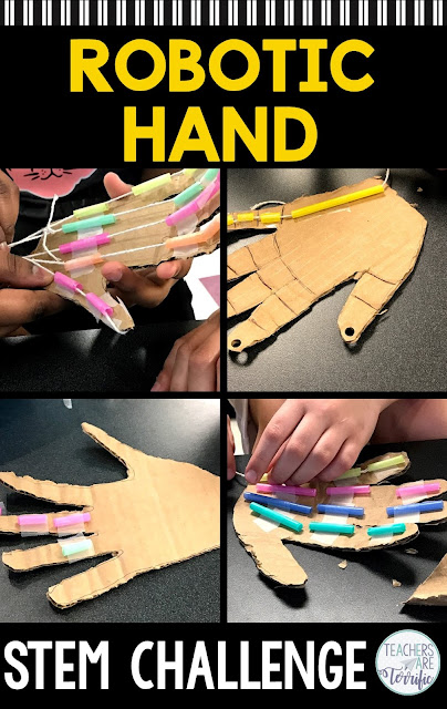 Need a real-life STEM engineering task? How about creating a model of a robotic hand? Have a quick discussion about how the hand works and then design a model. This challenge features choosing from several different materials for the hand and then creating fingers that lift and lower. The resource includes lab sheets, a scoring rubric, and photos and tips to make this successful for your students! #STEM #elementary