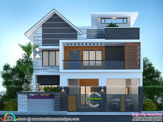 Front view rendering of mixed roof 5 bedroom house