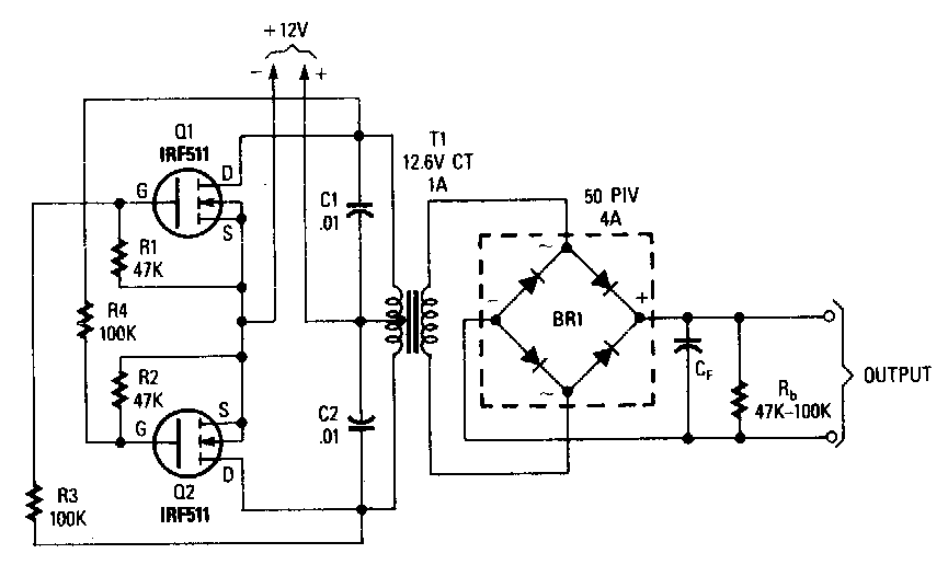 Power Mosfet Inverter Circuit Diagram on 12v battery charger circuit simple