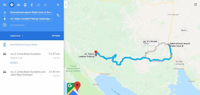 lokasi Air terjun Lembah pelangi