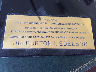 Burton Edelson Plaque on Syncom Model  Satellite
